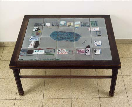 Table with ceramic tiles