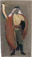 "Study for the costume of the leader of the Watchmen, Israel (Shimon Finkel) in the play ""Watchmen"""